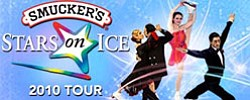 Promotional graphic for Smucker's Stars On Ice at the San Diego Sports Arena on Saturday, May 22, 2010 at 7:30 p.m.