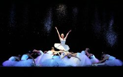 "Performance photo of ballet dancers in ""The Nutcracker,"" presented by San Diego Civic Youth Ballet."