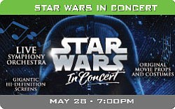 Graphic event image for Star Wars in Concert at the San Diego Sports Arena.