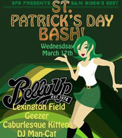 Event flier for the St. Patrick's Day Bash at the Belly Up Tavern, in Solana Beach.