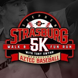 Promotional graphic for the Stephen Strasburg 5K Walk & Fun Run with Tony Gwynn on January 15, 2011.