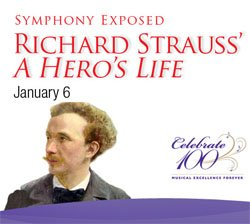 Promotional graphic for the San Diego Symphony's production of Richard Strauss' A Hero's Life.