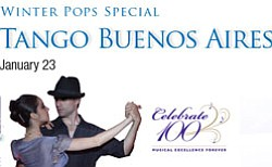 Promotional graphic for Tango Buenos Aires at Copley Symp...