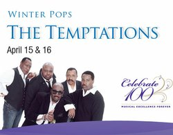 Promotional graphic for the Temptations live at Copley Symphony Hall.