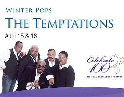 Promotional graphic for the Temptations live at Copley Sy...