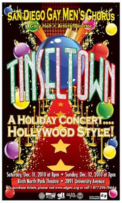 "Promotional graphic for San Diego Gay Mens Chorus' 2010 holiday show ""Tinseltown,"" on December 11 & 12, 2010 at Birch North Park Theatre."