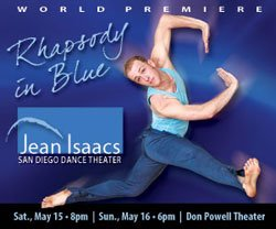 "Promotional graphic for ""Rhapsody in Blue & Other Dances,"" with performances on Saturday, May 15, and Sunday, May 16, 2010 at Don Powell Theater, San Diego State University."