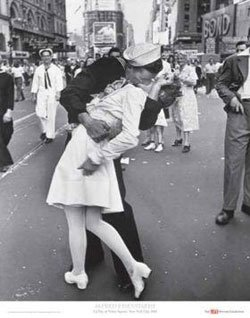 """Edith Shain photographed being kissed by a joyous sailor in Times Square on August 14, 1945, that inspired the statue """"Unconditional Surrender"""" that stands in front of the Midway."""