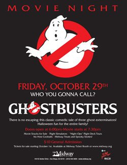 "Promotional graphic for USS Midway Museum's family fun movie night featuring ""Ghostbusters"" on Friday, October 29, 2010."
