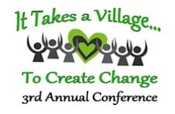 "Graphic logo for the 3rd annual ""It Takes a Village to Cr..."