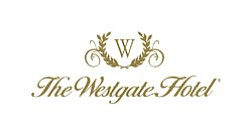 Graphic logo for The Westgate Hotel, located at 1055 Seco...