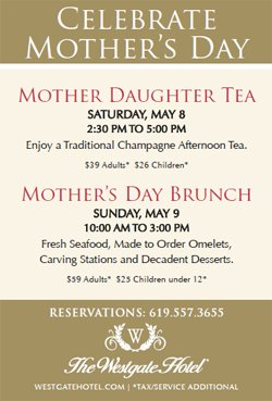 Flier for the Westgate Hotel's Mothers' Day Champagne Afternoon Tea event.