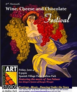 Event graphic for the 3rd Annual Wine, Cheese and Chocolate Festival to benefit the San Diego Women's History Museum & Educational Center.