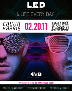 LED Presents Steve Aoki & Calvin Harris promotional graphic.