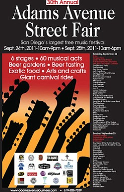 Promotional graphic for the 2011 Adams Avenue Street Fair, Saturday, September 24 from 10 a.m. to 9 p.m., and Sunday, September 25 from 10 a.m. to 6 p.m.