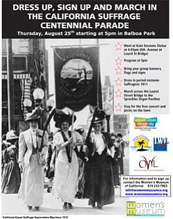 Promotional graphic for the California Centennial Suffrage Parade, Thursday, August 25 at 5 p.m., Balboa Park