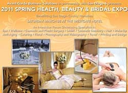 Promotional graphic for the 2011 Spring Health, Beauty & Bridal Expo on Saturday, March 5 from 11 a.m. to 8 p.m. to benefit the veterans of San Diego.