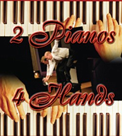 "Promotional graphic for ""2 Pianos, 4 Hands,"" by Ted Dykstra and Richard Greenblatt, directed by Bruce Sevy, January 15 - February 6, 2011."
