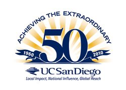 """UC San Diego's 50th anniversary graphic logo """"Achieving the Extraordinary"""""""