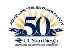 "UC San Diego's 50th anniversary graphic logo ""Achieving the Extraordinary"""