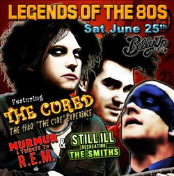 Promotional flyer for The Cured Murmur (REM tribute) and Still ILL (Smiths Tribute) at Belly Up Tavern.