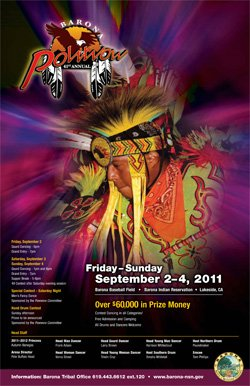 Promotional graphic for the 41st Annual Barona Powwow, Friday, September 2 - Sunday, September 4, 2011, at the Barona Baseball Field - Barona Indian Reservation - 1000 Wildcat Canyon, Lakeside