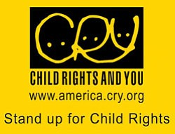 "Graphic logo for Child Rights & You (CRY) ""Stand Up for Child Rights""."