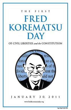 """Graphic logo for """"Fred Korematsu Day of Civil Liberties and the Constitution."""""""