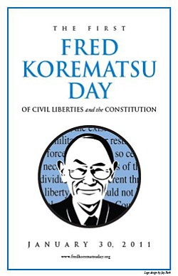 "Graphic logo for ""Fred Korematsu Day of Civil Liberties and the Constitution."""