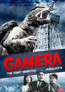 "Graphic DVD cover for ""Gamera: The Giant Monster,"" a 1965..."