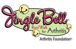 Graphical logo for Jingle Bell Run/Walk For Arthritis®.