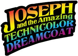 "Graphic logo for ""Joseph and the Amazing Technicolor Dreamcoat,"" presented by San Diego Musical Theatre."