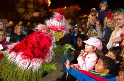 """The sixth annual Old Globe Christmas Tree Lighting takes place on Nov. 20 at 6:00 p.m and kicks off the holiday season in conjunction with San Diego's favorite holiday musical, """"Dr. Seuss' How the Grinch Stole Christmas!"""" Photo courtesy of The Old Globe."""