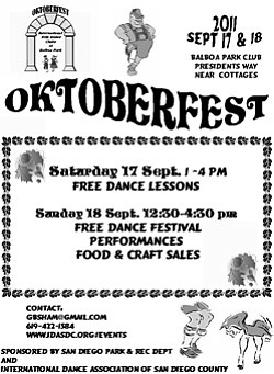 Promotional graphic for the 2011 Oktoberfest, a dance festival presented by International Folk Dancers' of Balboa Park, September 17 & 18th.