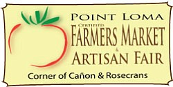 Promotional graphic for the Point Loma Certified Farmers Market & Artisan Fair, Every Sunday - Rain or Shine - from 9:30 a.m. - 2:30 p.m., at the corner of Cañon and Rosecrans.
