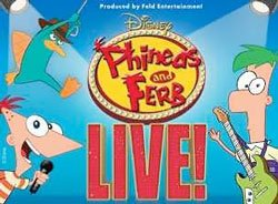 "Promotional graphic for Disney's ""Phineas And Ferb Live."""