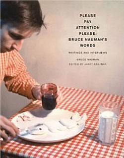 "Book cover of ""Please Pay Attention Please: Bruce Nauman's Words: Writings and Interviews""  By Bruce Nauman."