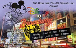 "Promotional graphic for ""Disney to Broadway,"" presented b..."