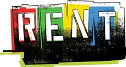 Graphical logo for Rent the musical.
