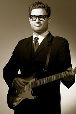 "Promotional photo of Billy McGuigan as Buddy Holly for the performance of ""Rave On!: A Tribute to the Music of Buddy Holly,"" Saturday, February 26, 2011 at 8 p.m. at the Poway Center For The Performing Arts."