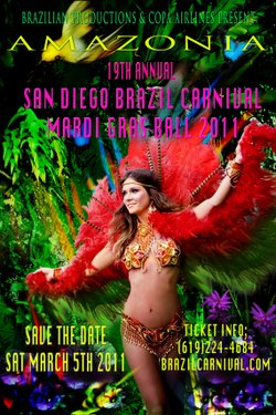 Graphic flyer for the 2011 San Diego Brazil Carnival in Downtown San Diego.