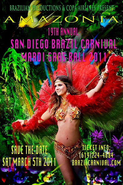 Graphic flyer for the 2011 San Diego Brazil Carnival in D...