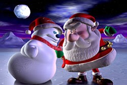 "The Snowman and Santa face off in the ""Santa Vs. The Snowman"" IMAX film at the Reuben H. Fleet Science Center."