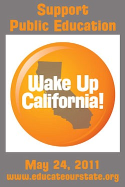 Graphic logo for the Wake Up California rally on May 24, ...