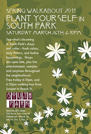 Graphic poster for the South Park Spring Walkabout.
