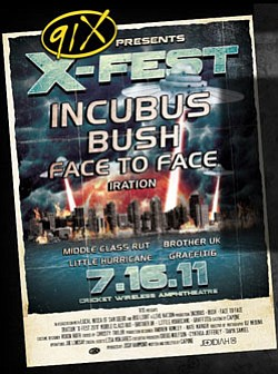 Promotional Flyer For 91Xs X Fest 2011