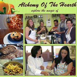 """Promotional graphic for Alchemy of the Hearth: """"Explore the magic of cooking - hands on classes for adults, teens and children"""" 760-233-2433."""