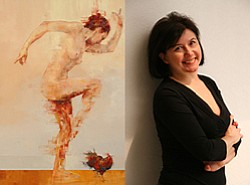 "Graphic of Julia San Roman next to her ""Kauai"" Painting."