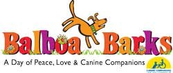 Graphic logo for the Balboa Barks event benefiting Canine Companions for Independence.