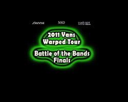 Promotional graphic for the 2011 Vans Warped Tour Battle Of The Bands Finals, August 6 at 6:30 p.m. at 4th&B.
